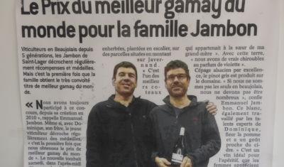 Blog des Vins Maison Jambon - Meilleur Gamay du Monde 2016