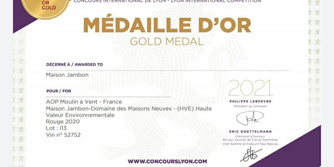 diplome medaille or moulin à vent 042020